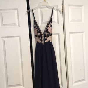 Navy blue with floral print Prom/ formal Dress